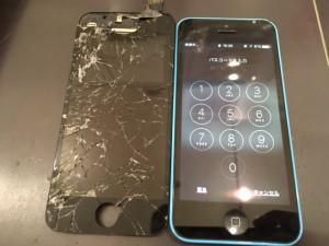 アイフォン5c ガラス+液晶交換修理