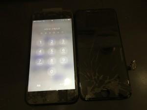 iPhone7ブラック画面割れの画像
