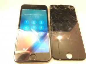 iPhone6ブラックの画面割れ画像
