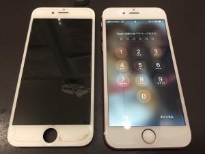 iPhone6Sのホワイトで画面割れ修理画像