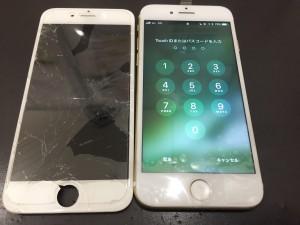 iPhone6のホワイトで画面割れ修理画像