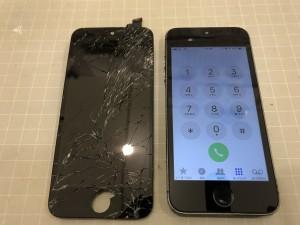 ガラスが破損したiPhone5s
