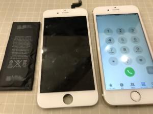 バッテリーと液晶画面を交換したiPhone6