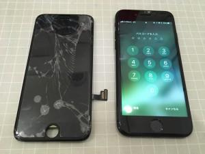 破損した画面とiPhone7