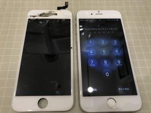 画面の上部が破損したiPhone6s