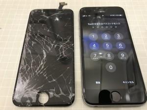 iPhone6sとバキッと割れた画面