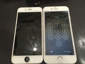 iPhone6sと交換後の液晶パネル