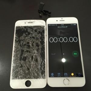 破損した画面とインカメラとiPhone6