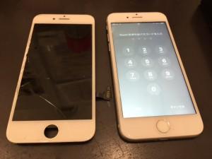 アイフォン7と破損したパネル