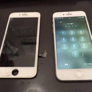 アイフォン7と破損した画面