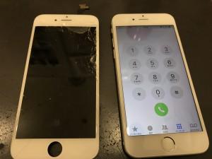 割れた画面とiPhone6