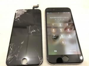 iPhone6sと破損した液晶パネル