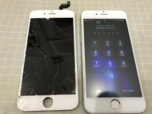 iPhone6sと破損したパネル