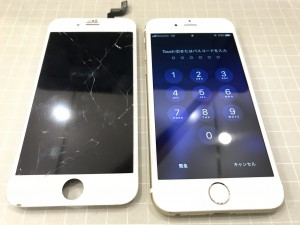 Iphone6sとガラスが割れたパネル