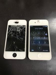 パネルが剥がれたiPhone4