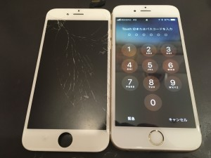 ガラスが割れたiPhone6s