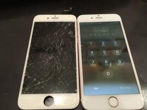 ガラスが破損したiPhone6s