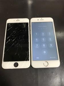 iPhone6sと割れたパネル