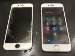 Iphone7と割れたパネル