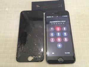 画面が割れたアイフォン6と交換したバッテリー