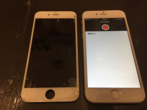 iPhone6と修理交換後のパネル