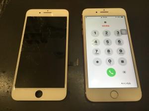 iPhone7と修理交換後の液晶パネル