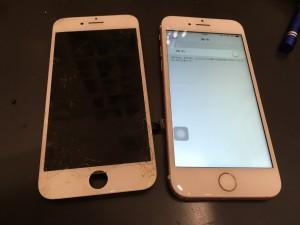 iPhone7とガラスが割れたパネル