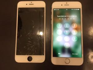 ガラスに細かい亀裂が入ったアイフォン6s