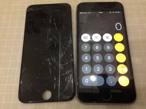 ガラスが傷だらけになったiPhone6s