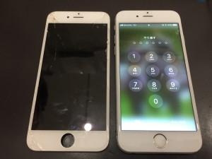 iPhone6と修理交換後の液晶パネル