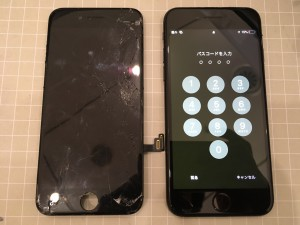 iphone7p ガラス割れ
